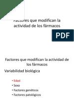 Factores Que Modifican La Actividad de Los Fármacos