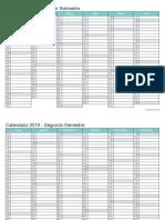 Calendario 2019 Semestral Blanco Turquesa