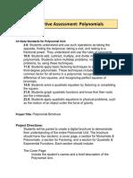 summative assessment  polynomials
