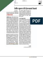 I restauri delle opere di Giovanni Santi - Il Corriere Adriatico del 15 marzo 2019