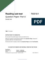 Nursing Reading Sub-test Sample Test