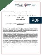 II Pre Congreso Argentino de Desarrollo Territorial y I Jornadas Patagónicas de Intercambio Disciplinar Sobre Desarrollo y Territorio -1ra Circular