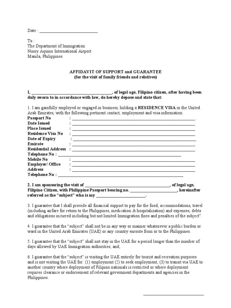 Affidavit of Support – Affidavit of Support