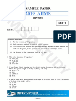 AIIMS 2019 Physics Sample Question Paper
