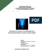 Análisis de la Lectura Paradigmas de la Investigación Científica (Tarea al 20-02-2019)