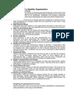 Characteristics of a Healthy Organization