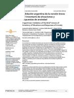 Validación Argentina de La Versión Breve Del Inventario de Sutuaciones u Respuestas de Ansiedad. CBA