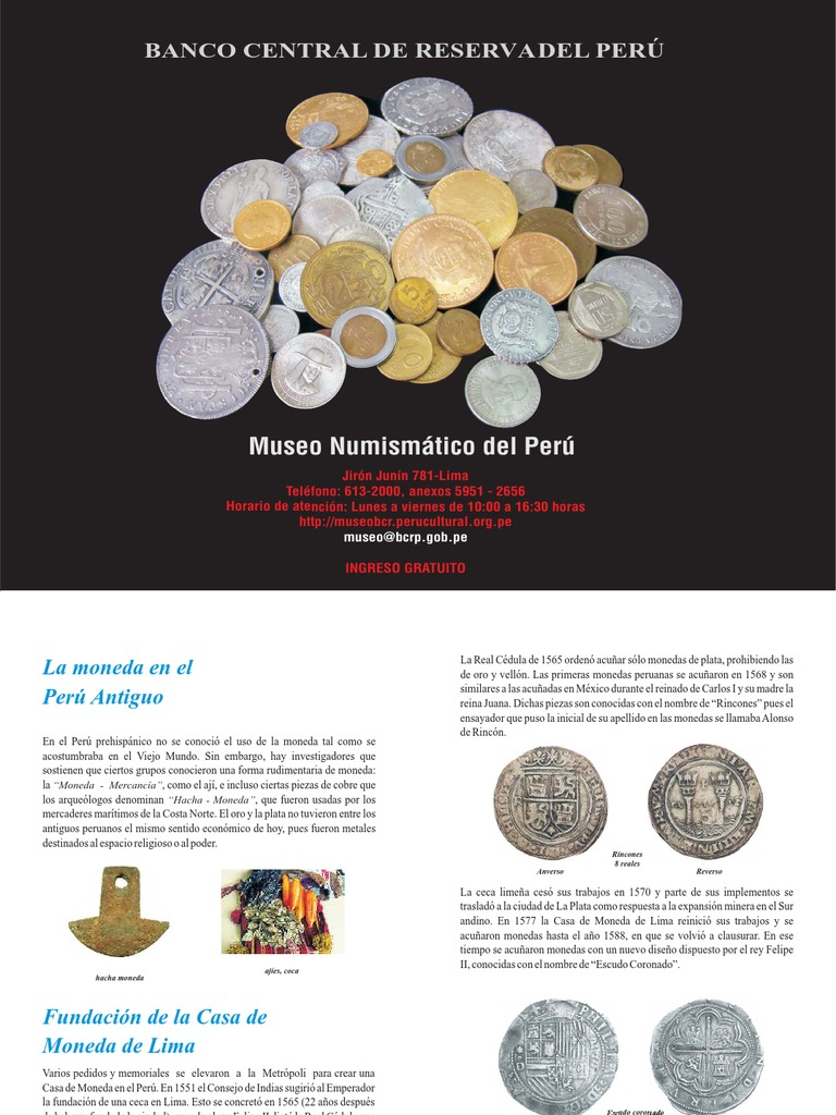 Museo numismatico del peru for Horario peru wellness