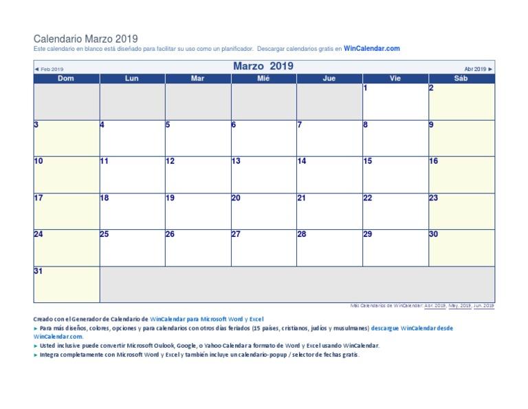 Calendario Con Excel.Marzo 2019 Docx