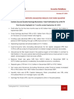 Sterling Bank PLC Unaudited Third Quarter 2010 Earnings Release