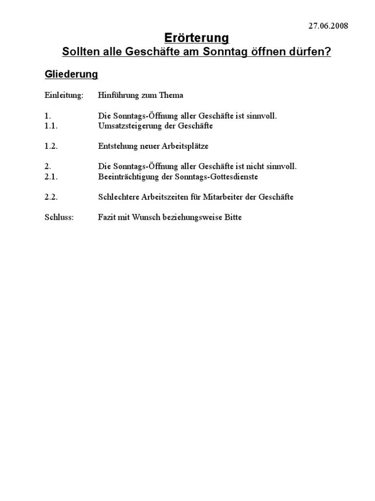 errterung sollten alle geschfte am sonntag ffnen drfen - Erorterung Gliederung Beispiel