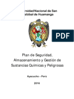 MV2. Plan de Seguridad, Almacenamiento y Gestión de Sustancias Químicas y Peligrosas