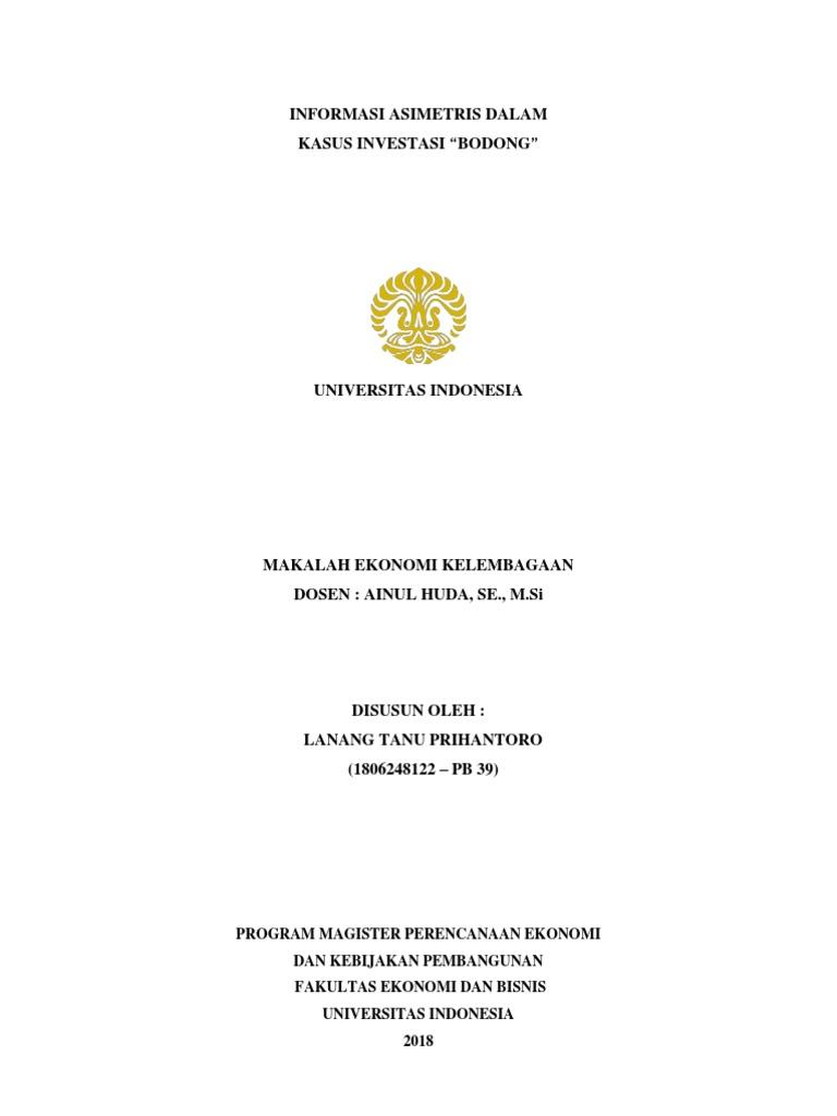 Informasi Asimetris Dalam Kasus Investasi Bodong