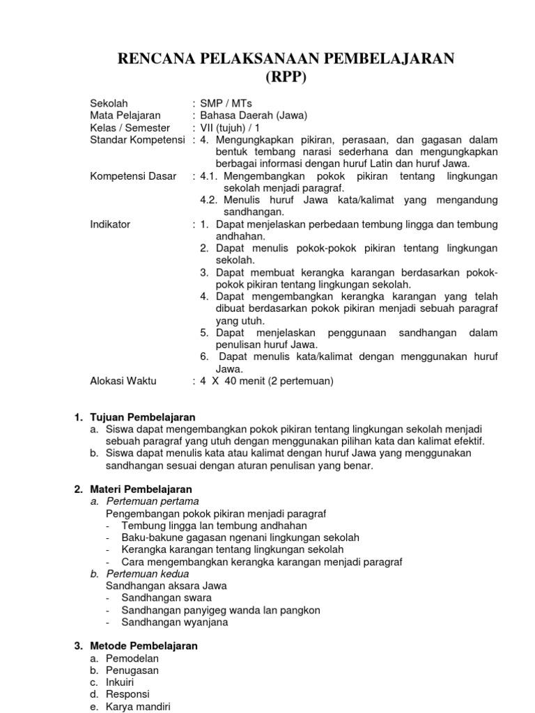 Hq Rpp Bahasa Jawa Smp