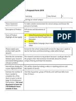 senior capstone product proposal form 2019