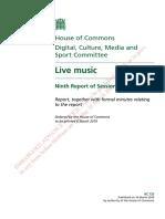 Parliamentary Enquiry - Live Music
