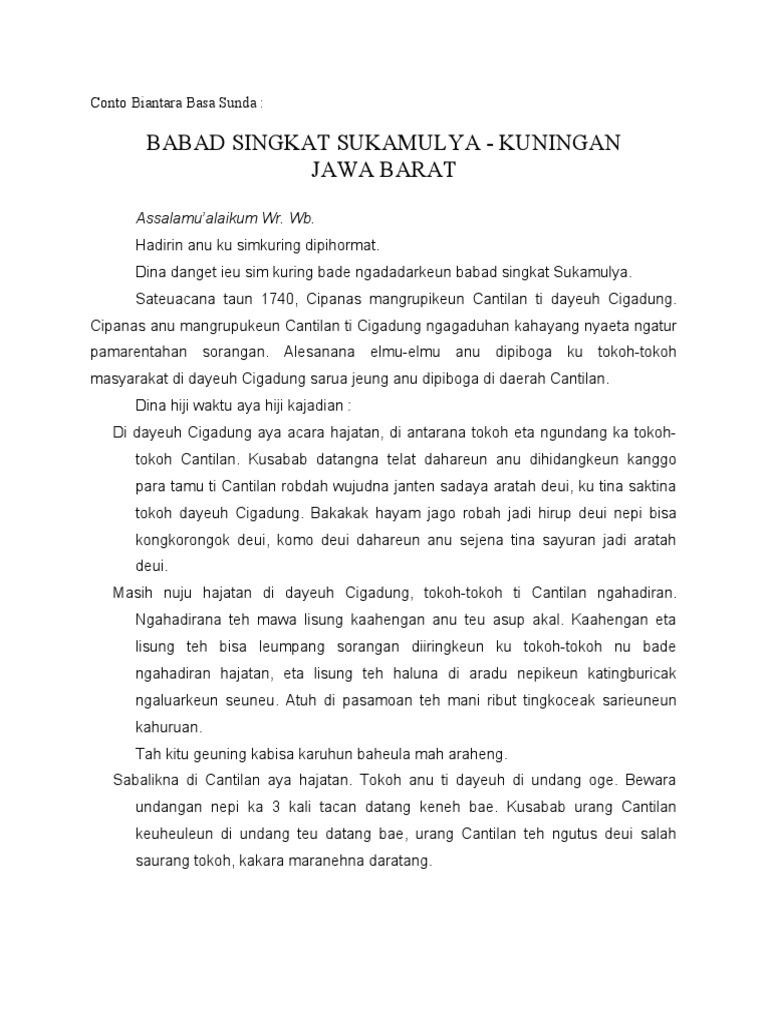 Conto Biantara Basa Sunda