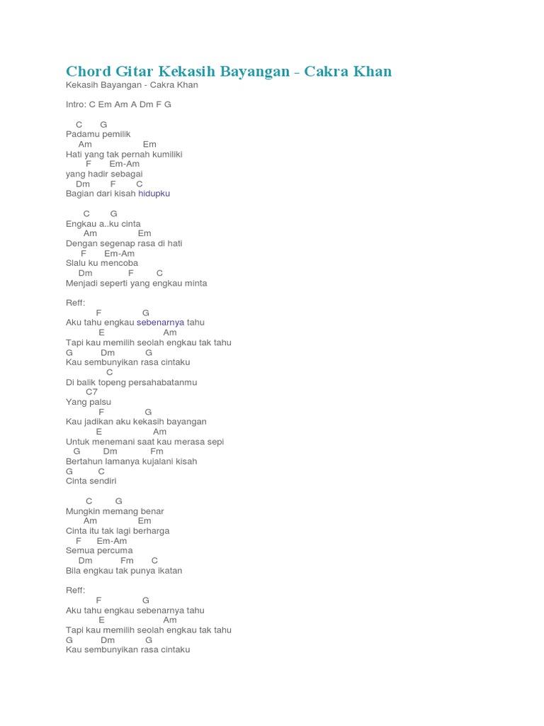 Chord Gitar Kekasih Bayangan