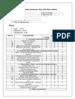 Performance Appraisal Tool for Staff Nurses