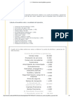Cálculo de una cuenta de pérdidas y ganancias