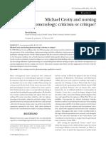 Barkway2001. Michael Crotty and Nursing Phenomenology