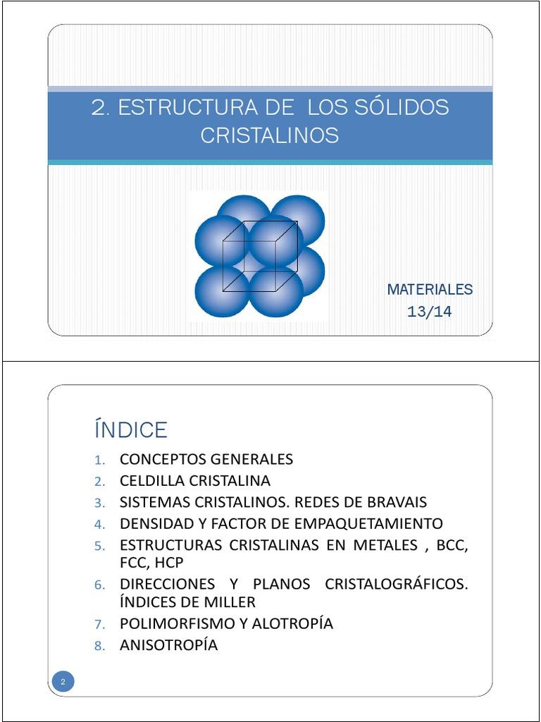 2 Estructura De Los Solidos Cristalinos Pdf Estructura