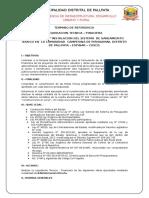 Tdr Liquidacion Tecnica Finaciera Inst. Del Sist. Saneamiento Basico Pallpata