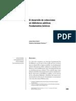 El Desarrollo de Colecciones de Bibliotecas Publicas. Fundamentos Teóricos.