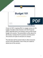 UNC Budget 101 Presentation