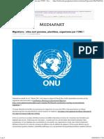 Migrations _ Elles Sont Pensées, Planifiées, Organisées Par l'ONU ! _ Le Club de Mediapart