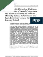 competencia social e relações sociais no rendimento escolar e aceitação dos pares
