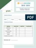 Clave de Respuestas Examen Trimestral Sexto Grado Segundo Trimestre 2018-2019