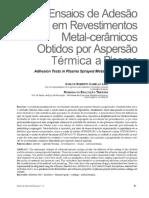 Ensaios de Adesão Em Revestimentos Metal-cerâmicos Obtidos Por Aspersão Térmica a Plasma Adhesion Tests in Plasma Sprayed Metal-ceramic Coatings - PDF