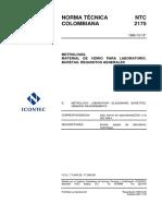NTC 2175 METROLOGIA. MATERIAL DE VIDRIO PARA LABORATORIO. BURETAS REQUISITOS GENERALES.pdf