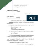 Motion for Prod of Docs SAMPLE