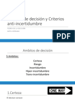 Ambitos de decision y Criterios anti incertidumbre