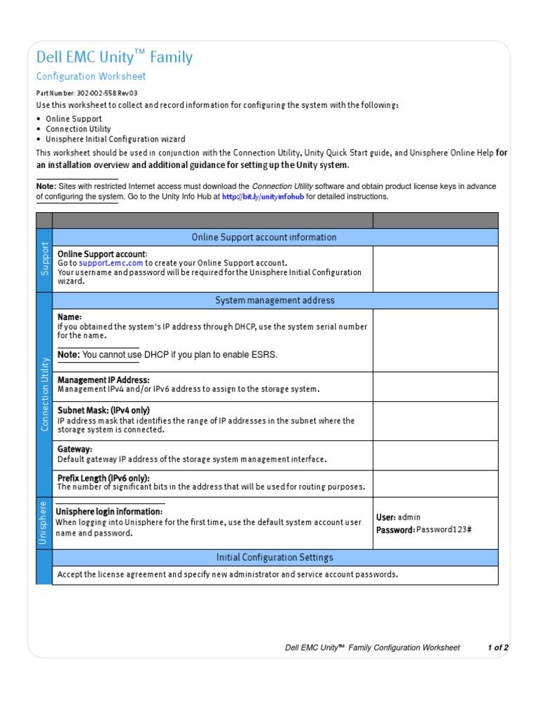 docu69357_Dell-EMC-Unity-Configuration-Worksheet(1) pdf | Ip
