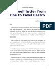 Farewell Letter From Che to Fidel Castro - Che Guevara