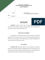 Position Paper for Plaintiff (Ejectment Case)