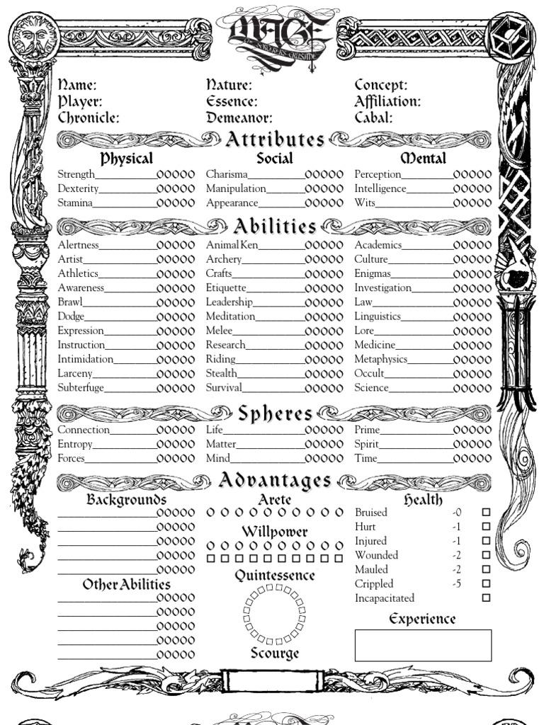 Character Sheet Sorcerer Crusade Role Playing Games Gaming