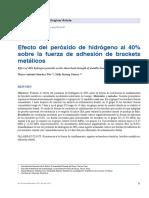 Efecto Del Peróxido de Hidrógeno Al 40% Sobre La Fuerza de Adhesión de Brackets Metálicos