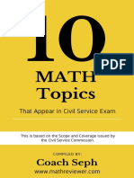 FREE eBook - 10 Math Topics That Appear in Civil Service Exam