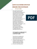 Flamel Petit Traite d Alchymie Intitule Le Sommaire Philosophique