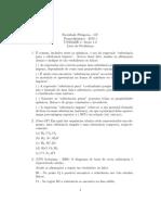 Lista de Problemas 1 termodinâmica