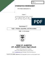 Worksheet 7 Median Quartile of Grouped Data