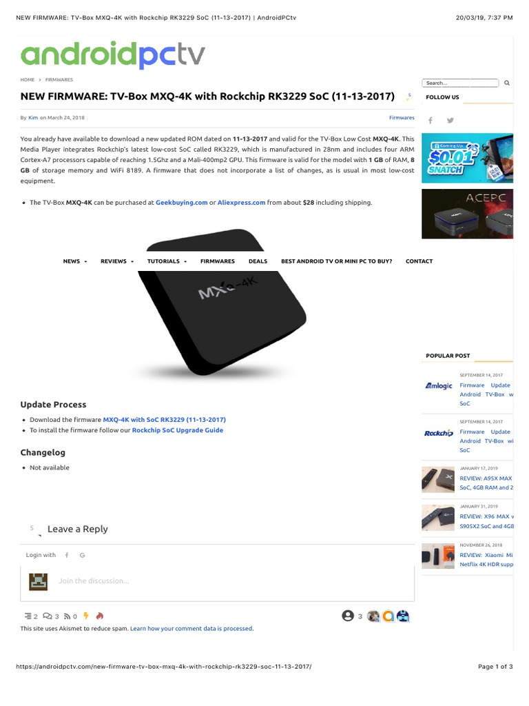 baixar firmware tv-box mxq-4k com soc rockchip rk3229 11-13-2017