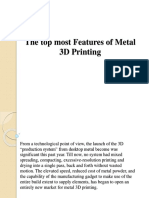 The Top Most Features of Metal 3D Printing