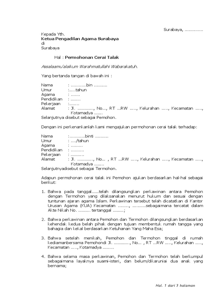 Contoh Format Cerai Talakdoc