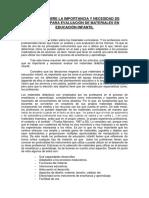 Ensayo Sobre La Importancia y Necesidad de Criterios Para Evaluación de Materiales en Educación Infantil