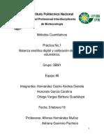 PRÁCTICA 1. BALANZA ANALÍTICA DIGITAL Y CALIBRACIÓN DE MATERIAL VOLUMÉTRICO.